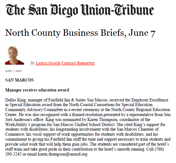 San Diego Union Tribune Article 2018 NCCSE Employer of Excellence Award