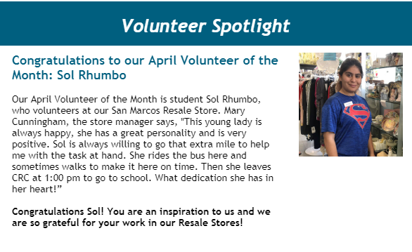 CRC April 2019 Volunteer of the Month